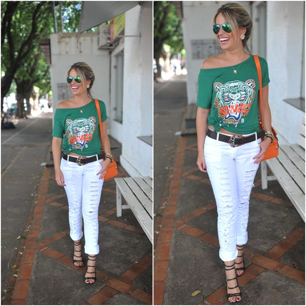 T-shirt Kenzo, Street Style, look fashion, calça destroyed, moda feminina, Blog de Moda