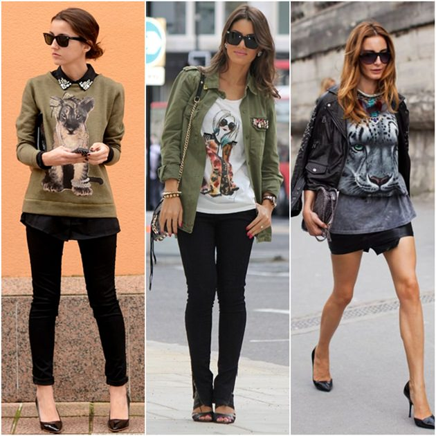 Looks animal face, look verde militar, street style