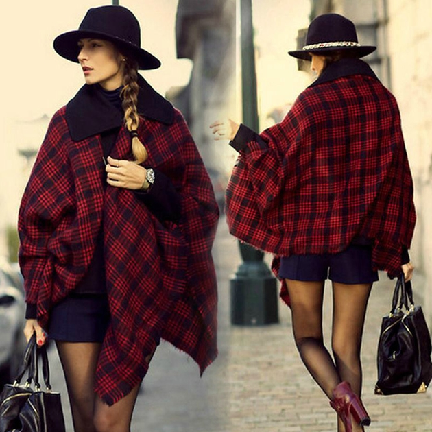 2015-New-Fashion-wool-blends-Plaid-Women-font-b-Poncho-b-font-Blanket-Winter-Scarf-Designer
