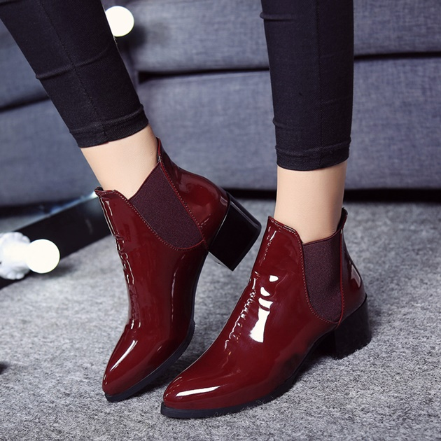 red glossy boots