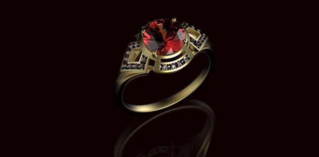 Gold Wedding Ring with diamond. Holiday symbol. Ruby gemstone