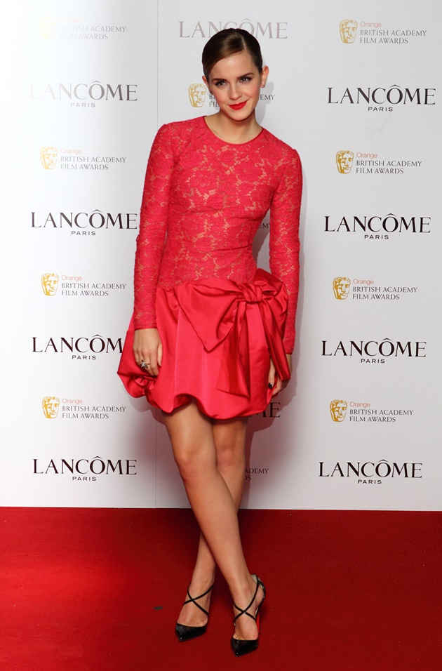 LONDON, ENGLAND - FEBRUARY 10: Emma Watson attends special pre-Orange British Academy Film Awards party, hosted by Lancome at The Savoy Hotel on February 10, 2012 in London, England. (Photo by Mike Marsland/WireImage)