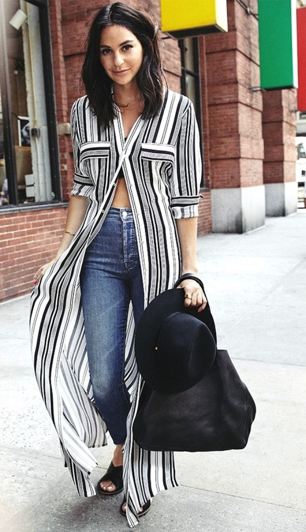 Le-Fashion-Blog-How-To-Wear-A-Striped-Maxi-Shirtdress-Tube-Top-Mother-Fray-Jeans-Madewell-Slide-Sandals-Summer-Style-Shopbop-Lauren-Edelstein