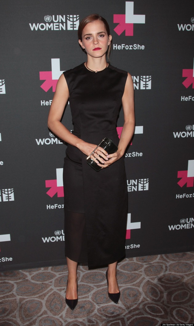 """NEW YORK, NY - SEPTEMBER 20: Actress Emma Watson attends the UN Women's """"HeForShe"""" VIP After Party at The Peninsula Hotel on September 20, 2014 in New York City. (Photo by Jim Spellman/WireImage)"""